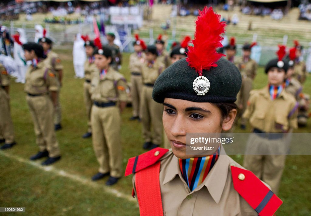 Female National Cadet Corps (NCC) members stand in formation during India's Independence Day celebrations on August 15, 2012 in Srinagar, the summer capital of Indian Administered Kashmir. All businesses, schools and shops were closed and traffic remained off the roads following a strike call given by Kashmiri separatist leaders against India's Independence Day celebrations in Kashmir. Meanwhile India deployed large numbers of Indian police and paramilitary forces to prevent any incidents during the official celebrations.
