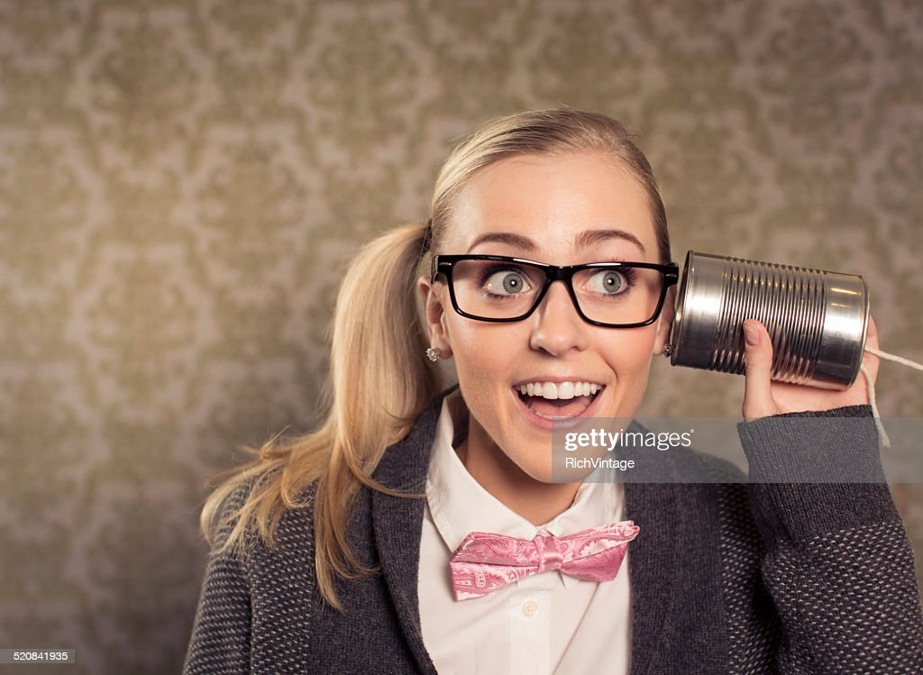Female Nerd with Mobile Phone : Stock Photo