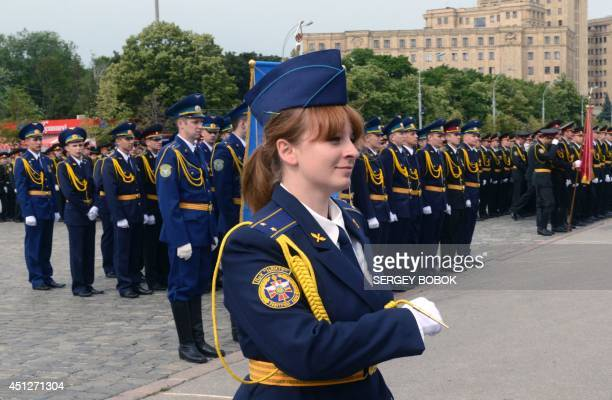 A female newly graduate of the University of Military Air Forces marches on June 26 2014 in the northeastern Ukrainian city of Kharkiv during a...