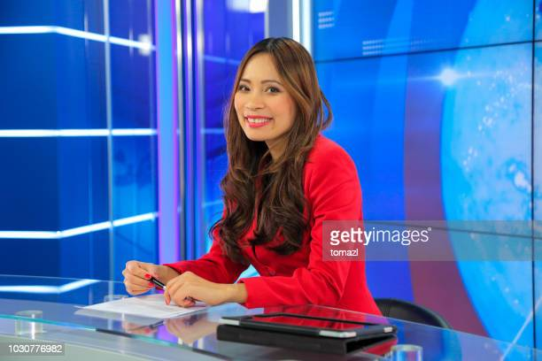 female news anchor - commentator stock pictures, royalty-free photos & images