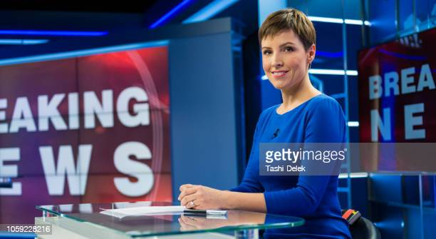 female newsreader in studio - newscaster stock pictures, royalty-free photos & images