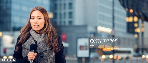 female newsreader - journalist stock pictures, royalty-free photos & images