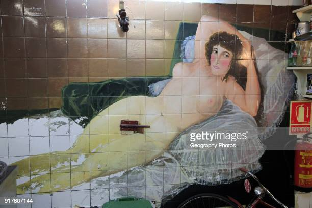 Female nude mural wall picture inside famous historic Los Gatos Cervecerias bar Madrid Spain