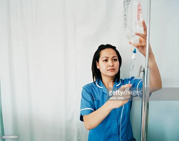 Female Nurse Checks an Intravenous Drip