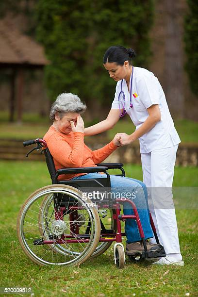 female nurse with senior woman