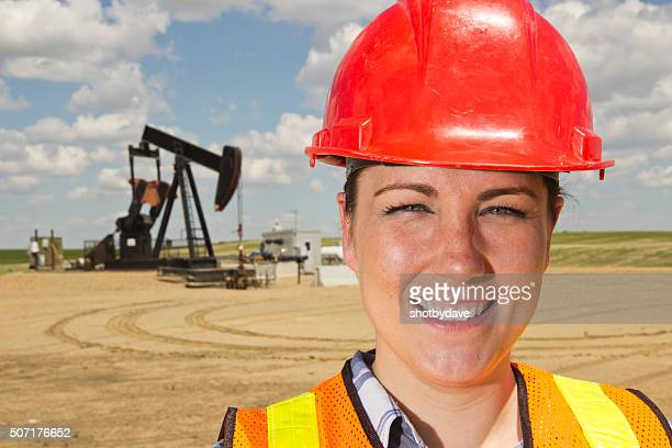 Female Oil Worker and Pumpjack