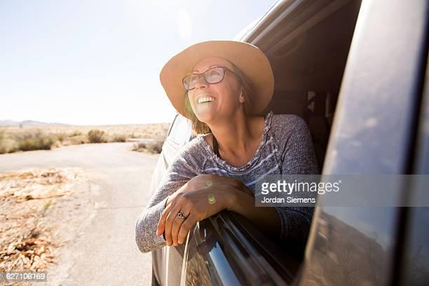 A female on a roadtrip.