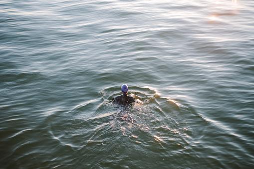 Female open water swimmer in the sea - gettyimageskorea