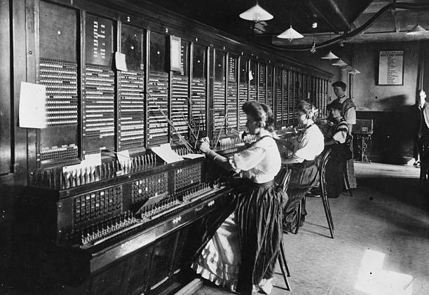 Female operators at the switchboard of the Magneto...