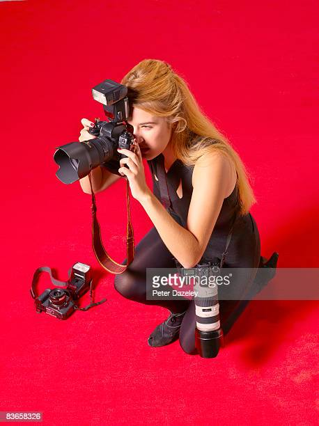 Female paparazzi on red carpet