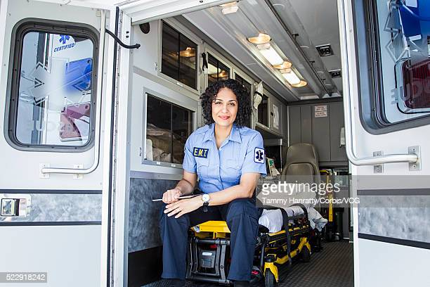 Female paramedic in ambulance