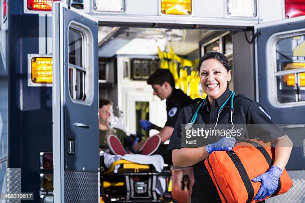 female paramedic - rescue worker stock pictures, royalty-free photos & images