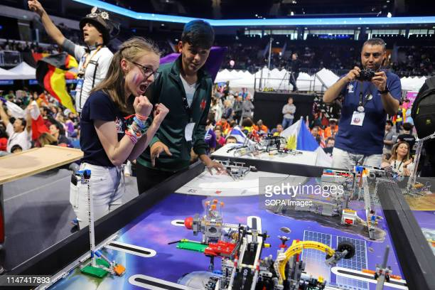 Female participant from France seen during the robotics competition at the Antel Arena in Montevideo. For the first time, Uruguay hosted the FIRST...
