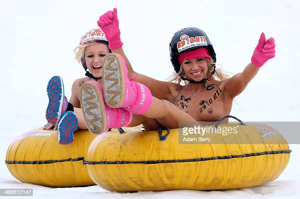 Female participants compete in the 2014 Naked Sledding World Championships on February 15 2014 in Hecklingen near Magdeburg Germany The annual event...