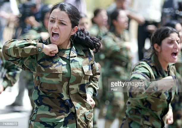 Female pershmerga the Kurdish security force display some military moves during a handover ceremony from US forces to the Kurdish regional government...