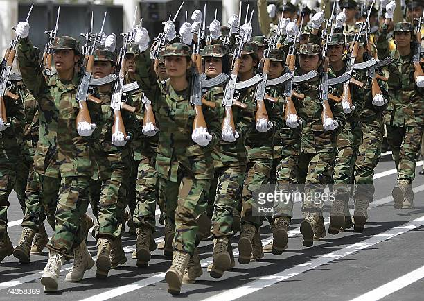 Female pershmerga the Kurdish security force march during a handover ceremony from US forces to the Kurdish regional government May 30 2007 in the...