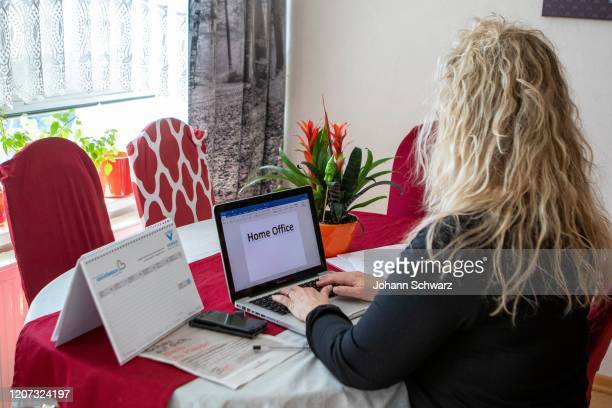 A female person at the home office during Coronavirus Affects Everyday Life In Austria at District Liesing on March 16 2020 in Vienna Austria