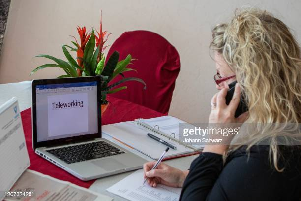 A female person at the teleworking during Coronavirus Affects Everyday Life In Austria at District Liesing on March 16 2020 in Vienna Austria