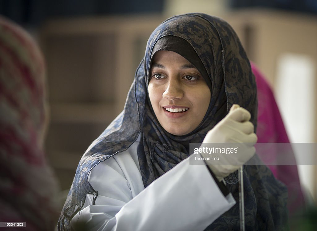 A female pharmacology student pictured in a laboratory at the Al-Azhar University on November 06, 2013 in Gaza City, The Palestinian Territories.