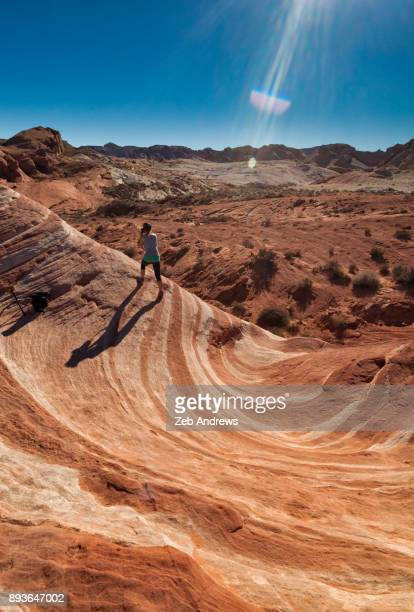 a female photographer in valley of fire state park, nevada - valley of fire state park stock pictures, royalty-free photos & images
