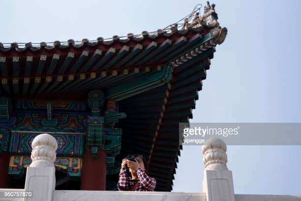female photographer traveling chinese ancient architecture - architectural cornice stock photos and pictures