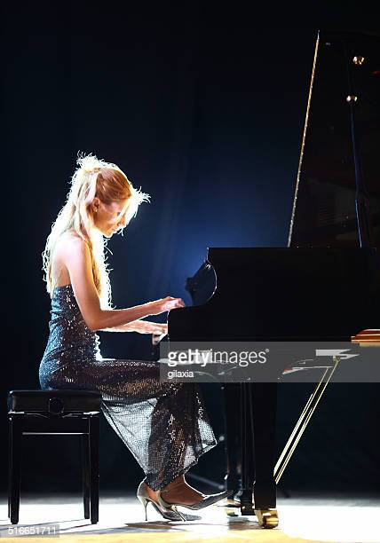 Female pianist in a concert.
