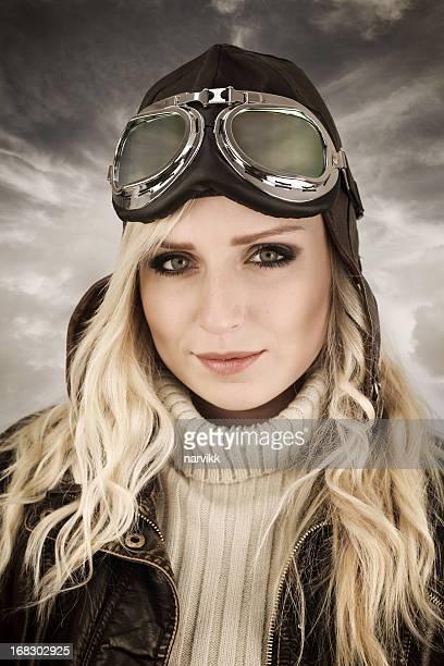 female pilot retro portrait - aviation hat stock photos and pictures
