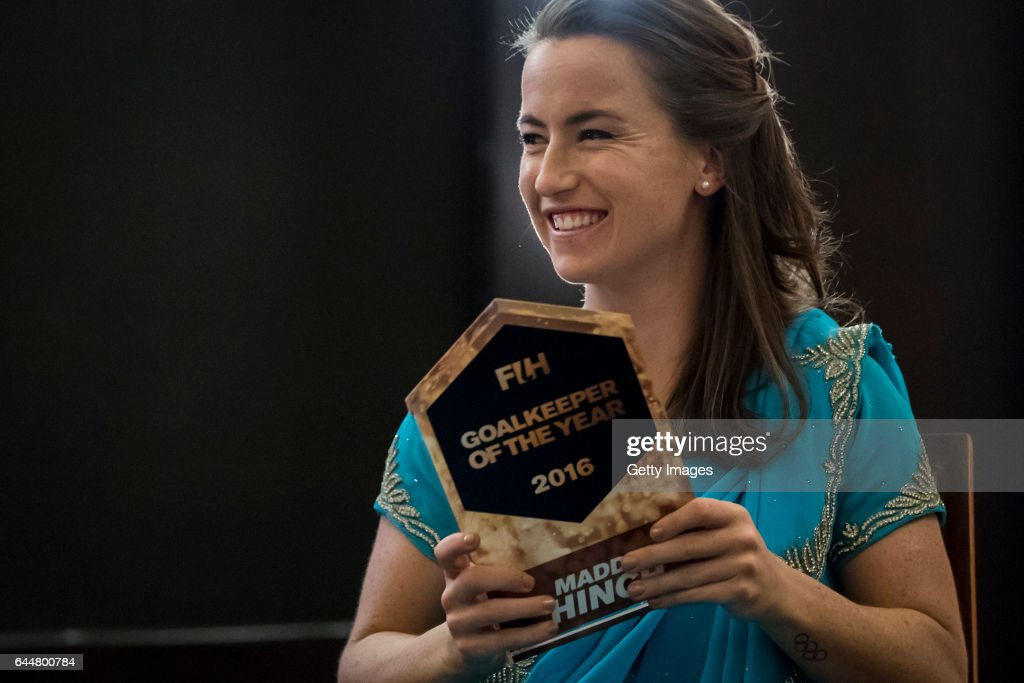 Female Player of the Year Maddie Hinch of England and Great Britain poses for a picture during the FIH Hockey Stars Awards 2016 at Lalit Hotel on...