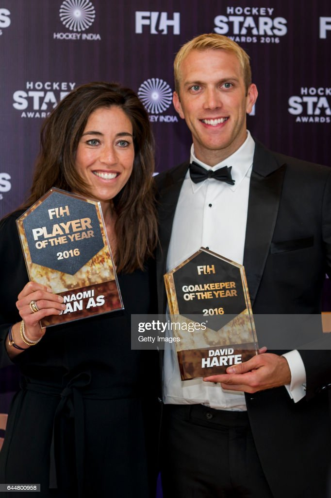 Female Player of the Year Naomi Van As of Netherlands and FIH Male Goal Keeper of the Year David Harte of Ireland pose for a picture during the FIH...