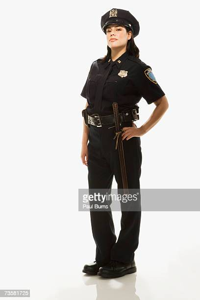 Female Police Officer on white background, portrait