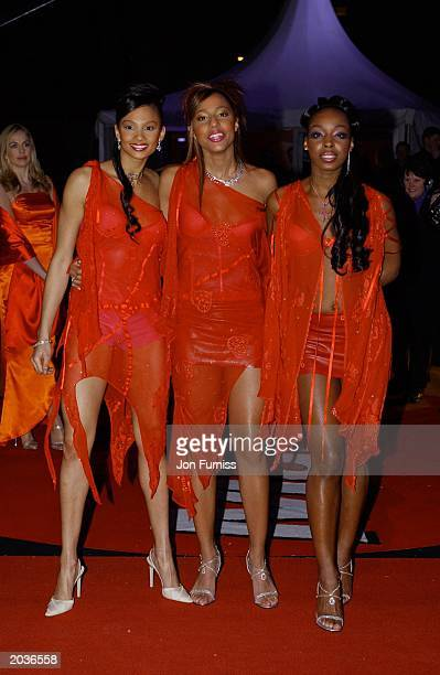 UK female pop group Misteeq arrive for the Brit Awards in Earls Court London on February 20 2002 The group performed One Night Stand during the...