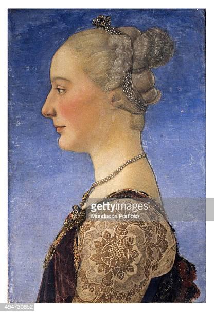 Female Portrait by Antonio del Pollaiolo c 1480 15th Century tempera and oil on board 55 x 34 cm Italy Tuscany Florence Uffizi Gallery Whole artwork...