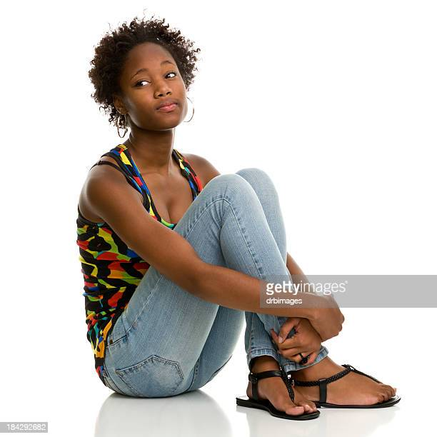 female portrait - cross legged stock pictures, royalty-free photos & images