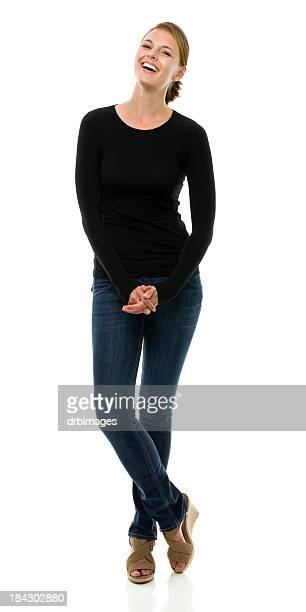 female portrait - black pants stock pictures, royalty-free photos & images
