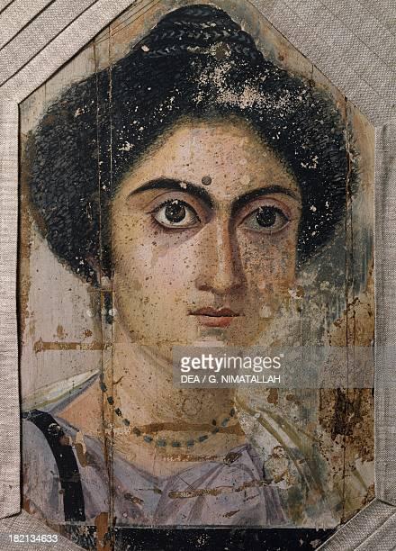 Female portrait tempera on wood from Fayoum Egyptian Civilisation Roman Empire Florence Museo Archeologico Nazionale Museo Egizio