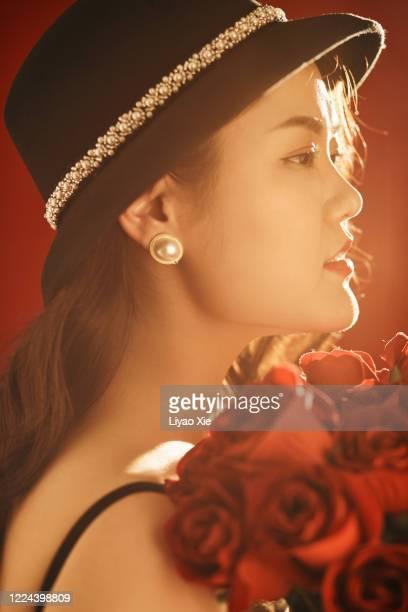 female potrait in wedding ceremony - liyao xie stockfoto's en -beelden