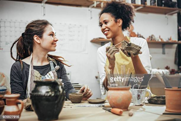 female potters  in art studio - craft product stock pictures, royalty-free photos & images