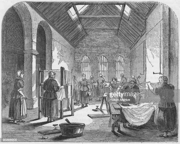 Female prisoners at work in the ironingroom of Brixton Prison in London circa 1850 Published in 'The Criminal Prisons of London' a compilation of...