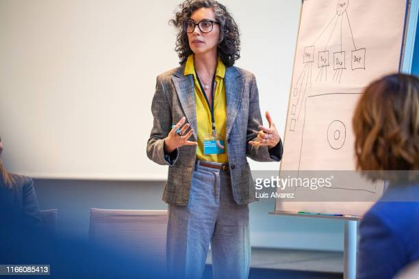 female professional giving a presentation in a seminar - part of a series stock pictures, royalty-free photos & images