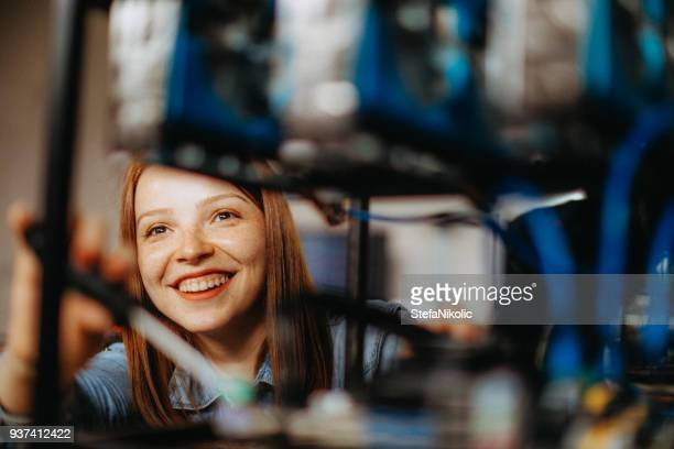 Female programmer coding