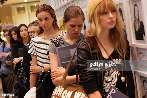 Female prospective models queue outside the temporary Grazia office in the Westfield shopping centre London on November 3 2008 For one week the...