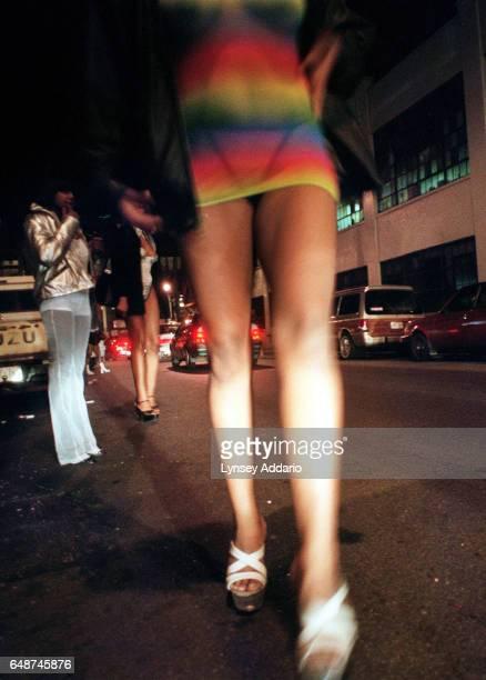 Female prostitutes wait for customers near the Queensborough bridge in Queens New York City in 1999