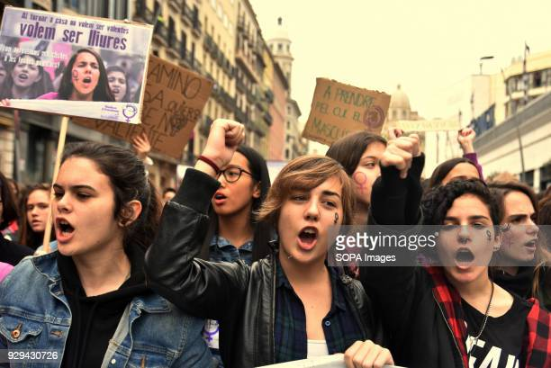Female protesters seen during the March 8 international women's day to demand equal better salary and more dignity in the work Thousands of...