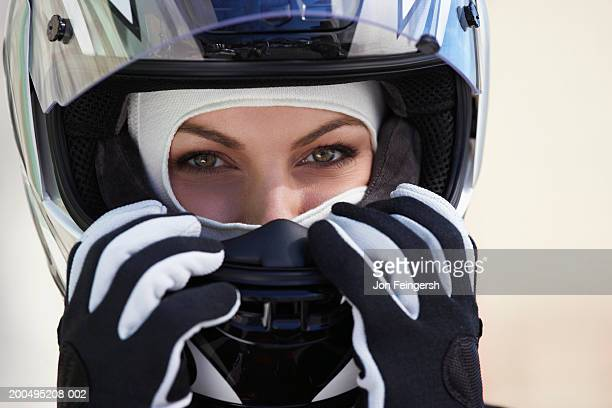 female race car driver wearing helmet, close-up, portrait - nascar stock pictures, royalty-free photos & images