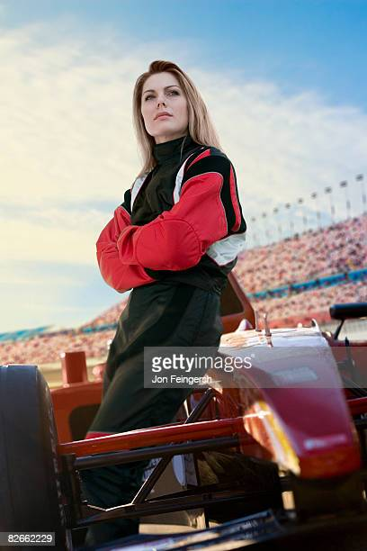 Female Racecar Driver resting