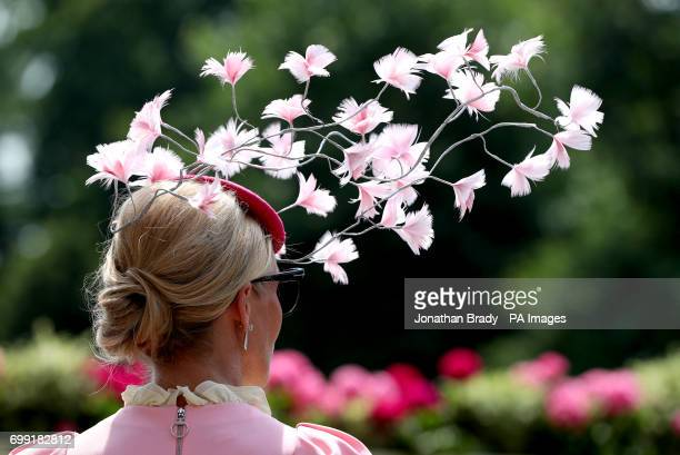 A female racegoer's floral fascinator during day two of Royal Ascot at Ascot Racecourse