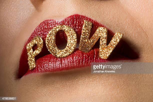 Female red lips with letter POW on