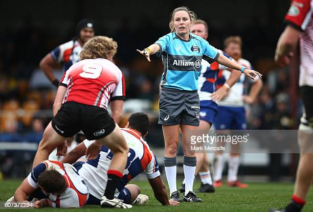 Female referee Amy Perrett in action during the round four NRC match between the Canberra Vikings and the Western Sydney Rams at Viking Park on...