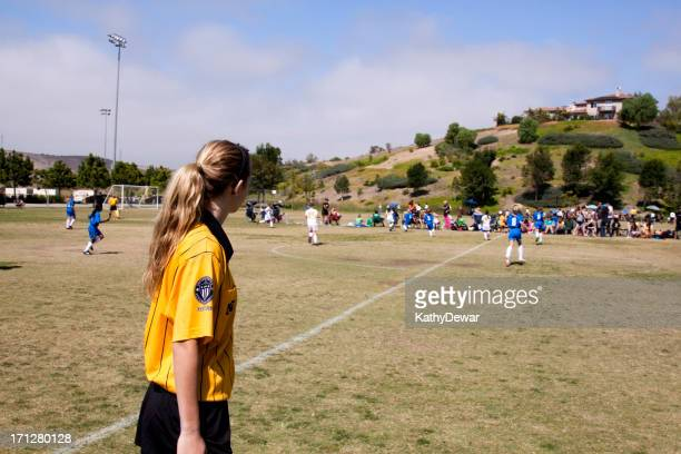 female referee and girls soccer game - female umpire stock pictures, royalty-free photos & images