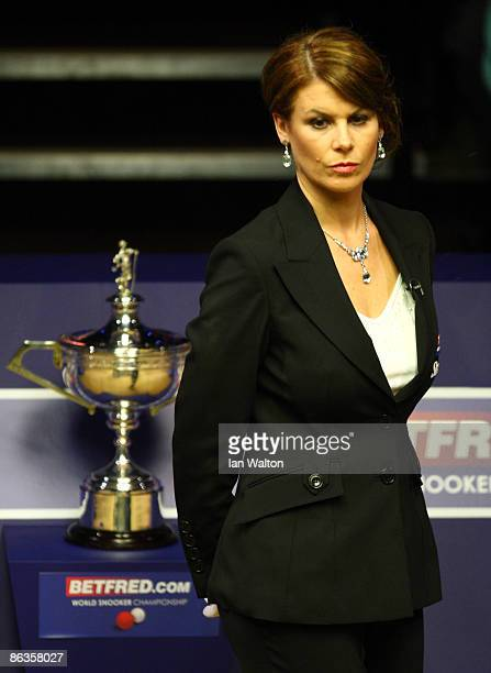 Female referee Michaela Tabb looks on during the John Higgins of Scotland and Shaun Murphy of England final match at the Betfred Snooker World...